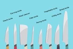 烹调被设置的刀子的传染媒介例证 图库摄影