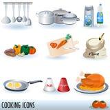 烹调被设置的图标 库存图片
