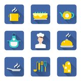 烹调被设置的图标 免版税库存照片