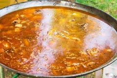 烹调西班牙瓦伦西亚语肉菜饭或什锦菜肴的过程在大平的煎锅 成份肉,米,菜,煨 免版税库存照片