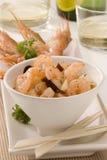 烹调西班牙语蒜酱油的虾 免版税库存照片