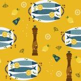 烹调象无缝的样式的平的手拉的鱼 向量例证