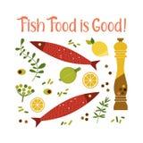 烹调象汇集的平的手拉的传染媒介鱼 库存例证
