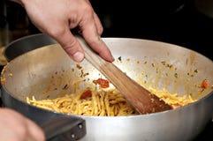 烹调路线第一意大利面食 库存照片