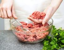 烹调陆运的牛肉 库存照片