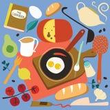 烹调集合的早餐 免版税库存图片