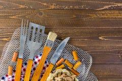 烹调集合的烤肉 免版税图库摄影