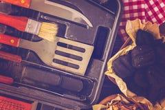 烹调集合的烤肉 免版税库存照片