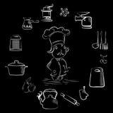 烹调集合黑色 图库摄影