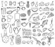 烹调食物向量的收藏 免版税库存图片