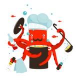 烹调食物的红色章鱼厨师 库存例证