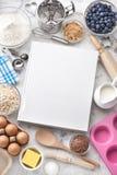 烹调食物背景的菜谱 免版税库存照片