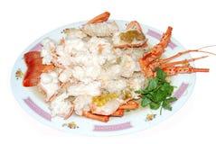 烹调龙虾大虾海鲜 免版税库存照片