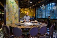 烹调主要在亚洲餐馆 免版税库存图片