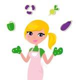 烹调jugglery母亲蔬菜 免版税库存图片