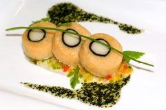 烹饪吉隆坡马来西亚medaillon三文鱼 库存图片