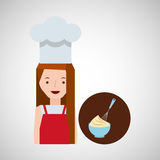 烹饪器材女孩搅打机混合面团 向量例证