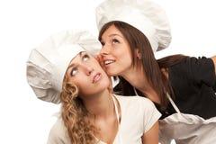 烹饪器材秘密共享他们 库存照片