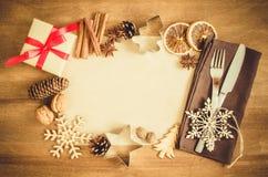烹饪的背景 与空的纸的圣诞节明信片 免版税库存图片