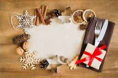 烹饪的背景 与空的纸的圣诞节明信片 免版税图库摄影
