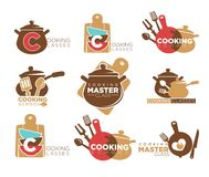 烹饪课增进象征设置了与平底深锅和利器 皇族释放例证