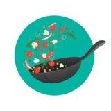 烹饪过程传染媒介例证 翻转在平底锅的亚洲食物 动画片样式 向量例证