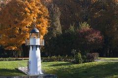 烽火台在城市公园秋天。里加,拉脱维亚 免版税图库摄影
