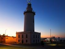 烽火台在日落的马拉加 免版税图库摄影