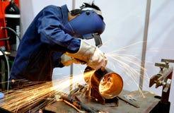 焊工切口钢 免版税库存照片