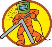 焊工运作的动画片例证有圈子背景 库存图片