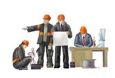 焊工,电工,项目负责人,建筑师,起重器锤子工作者副主任, 免版税库存照片