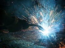 焊接与火花 库存图片