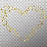 焕发光线影响和金黄被隔绝的箔心脏在透明背景情人节照片覆盖物和装饰的 库存例证