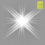 焕发光线影响 与闪闪发光的星爆炸 晒裂 力量能量霓虹灯宇宙摘要 向量例证