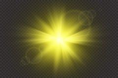 焕发光线影响 与闪闪发光的Starburst在透明背景 也corel凹道例证向量 晒裂 皇族释放例证