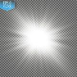 焕发光线影响 与闪闪发光的Starburst在透明背景 也corel凹道例证向量 库存图片