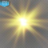 焕发光线影响 与闪闪发光的Starburst在透明背景 也corel凹道例证向量 免版税库存照片