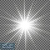 焕发光线影响 与闪闪发光的Starburst在透明背景 也corel凹道例证向量 图库摄影