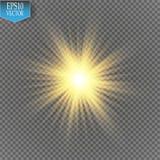 焕发光线影响 与闪闪发光的Starburst在透明背景 也corel凹道例证向量 免版税库存图片