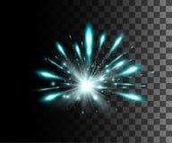 焕发隔绝了白色透明作用、透镜火光、爆炸、闪烁、线、太阳闪光、火花和星 对例证templat 向量例证