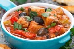 焖鱼用在西红柿酱,特写镜头的橄榄 库存图片