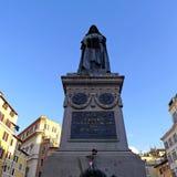 焦尔达诺・布鲁诺雕象园地的de ` Fiori,罗马 免版税库存照片