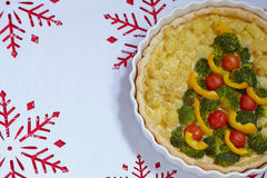 焦干酪用硬花甘蓝和花椰菜圣诞节的 免版税库存照片