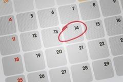 焦点日历背景在第十四天 库存图片
