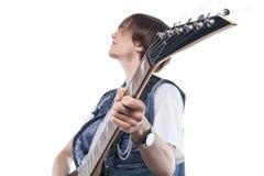 焦点照片脖子电吉他 库存照片