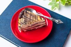 焦糖在红色板材的巧克力蛋糕切片 库存照片