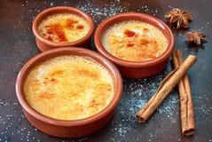 焦糖奶油在烘烤dis的terracota的奶油色brulee,被烧的奶油 免版税库存照片