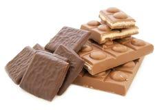 焦糖巧克力被装载的奶糖白色 库存图片