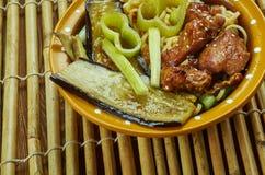 焦糖的猪肉拉面面条汤 免版税库存照片