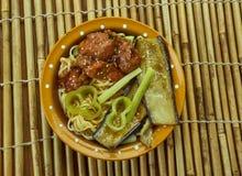 焦糖的猪肉拉面面条汤 免版税图库摄影